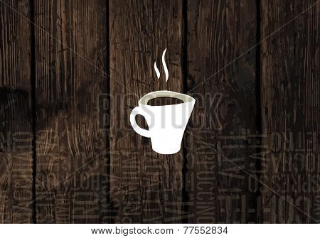 Coffee Cup On Wooden Planks Texture. Coffeeshop Business Card Template. Raster version