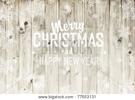 Merry Christmas Greeting On Wooden Fence Texture. Raster version