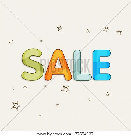 Colorful Sale text design with stars decoration on beige color background.