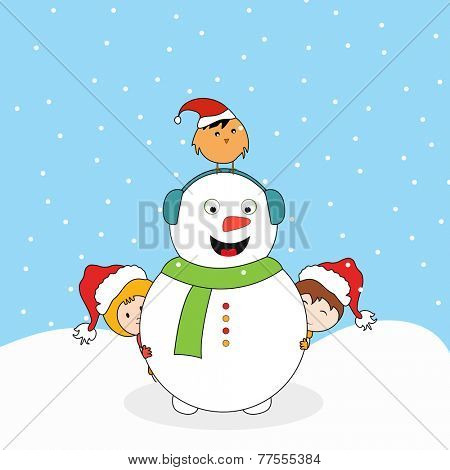 Cute smiling snowman with headphone, little cute kids in Santa cap and love bird standing over snowman head on snow covered background for Merry Christmas celebrations.