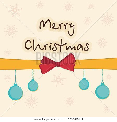 Stylish text of Merry Christmas with X-mas balls hanging from ribbon on snowflakes decorated background.