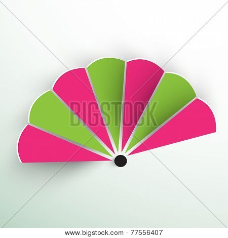 Beautiful paper fan of China in two color on gradient background.