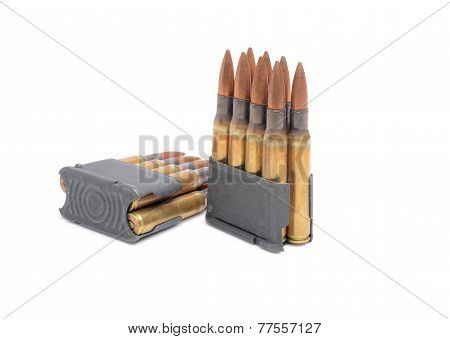Rifle, Clips And Ammunition On White Background.