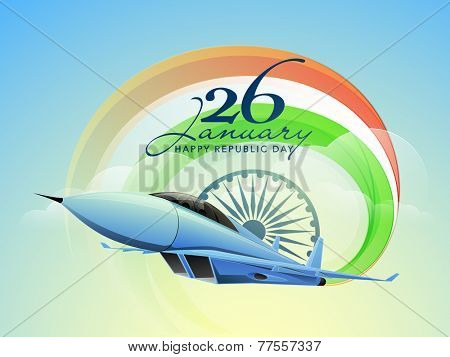 Happy Indian Republic Day celebrations with text 26 January, Ashoka Wheel and fighter airplane making national tricolors on nature view background.