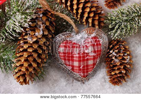 Christmas Decoration With Vintage Heart On Snow
