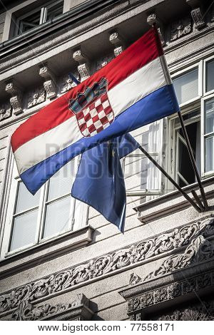 Croatia and European flags
