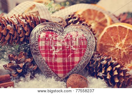 Christmas Decoration With Vintage Heart