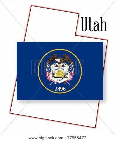 Utah State Map And Flag