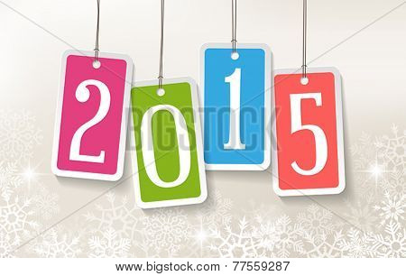 2015 New Year greetings card with four colorful stickers.
