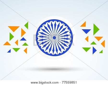 Shiny Ashoka Wheel with national tricolor triangles for Indian Republic Day and Independence Day celebrations.