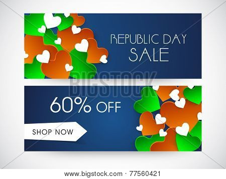 Website sale header or banner set with 60% off and hearts in national flag colors for Indian Republic Day celebrations.