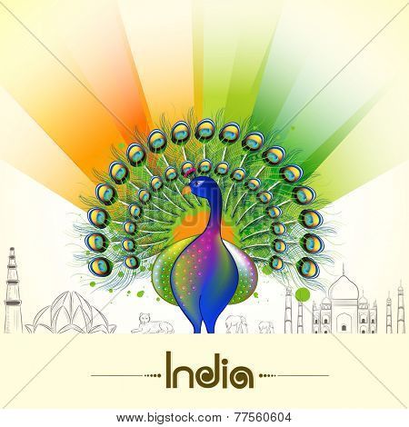 Indian Republic Day and Independence Day celebrations with National Bird Peacock, animals and famous monuments on flag colors background .