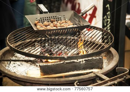 Roasted Chestnuts On Grill