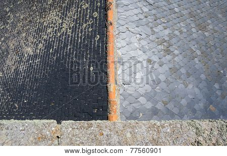 Slate roof, top view