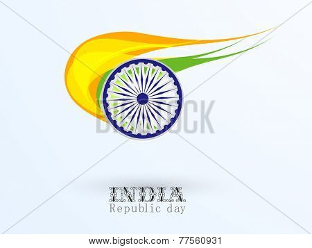 Indian Republic Day celebration concept with Ashoka Wheel and national flag color.