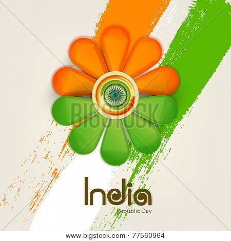 Beautiful flower design in national flag color with Ashok Wheel for Indian Republic Day celebration.