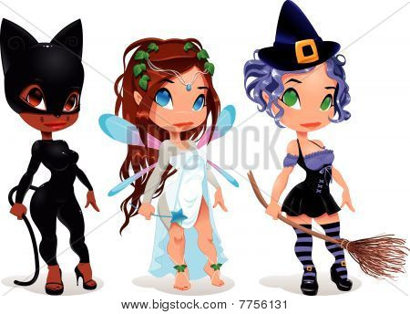 Pussy, Fairy and Witch.