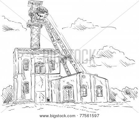 vector - Coal mine headgear tower, isolated on background