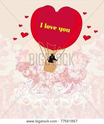 Hot Air Balloon - Valentine Card