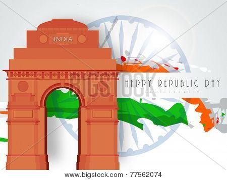 Happy Indian Republic Day celebration with India Gate and national flag color on Ashoka Wheel decorated background.
