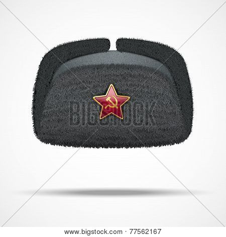 Russian black winter fur hat ushanka with red star.