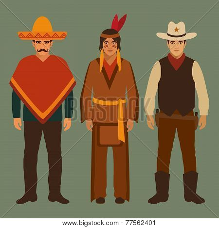 cowboy, indian and mexican,