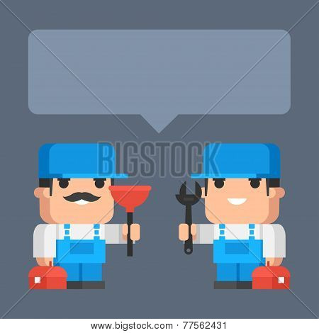 Two plumber smiling and holding tool concept