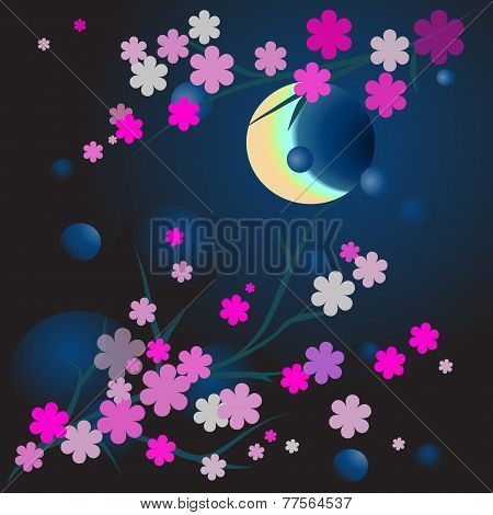 Illustration Of Blossoming Brunch In Moonlight