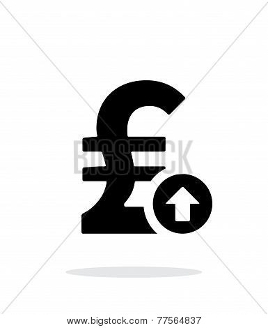 Pound sterling exchange rate up icon on white background.