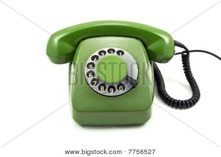 Old green analogue  phone