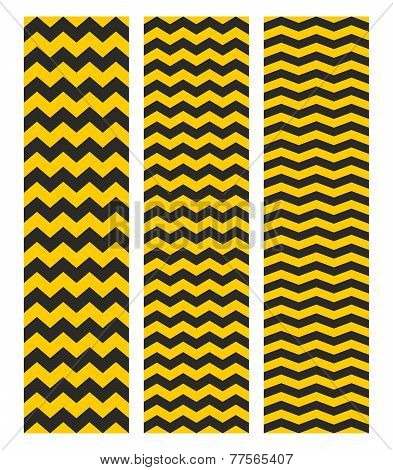 Tile chevron vector pattern set with yellow and black zig zag
