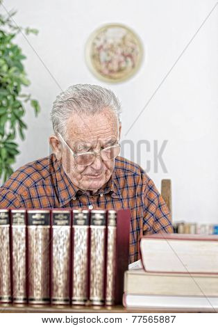 Senior Man In Library