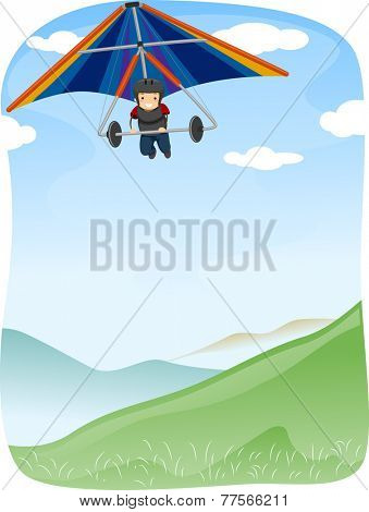 Illustration of a Stickman Maneuvering  Hang Glider