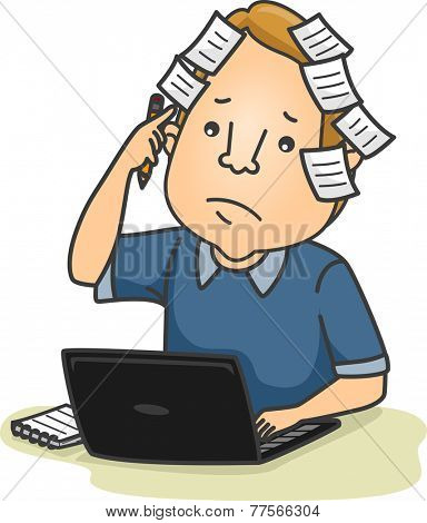 Illustration Featuring a Man With Sticky Notes Posted All Over His Head