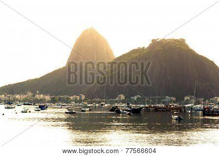 The Sugarloaf Mountain from Botafogo Beach in Rio de Janeiro, Brazil.