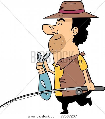 Illustration Featuring a Man in Fishing Gear Carrying a Fishing Pole Holding a Fish