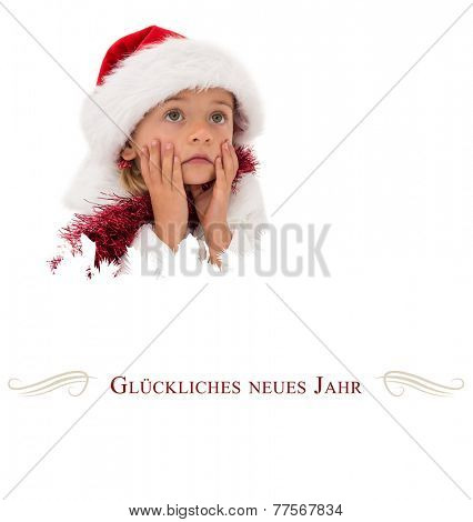 Cute little girl wearing santa hat and tinsel against border