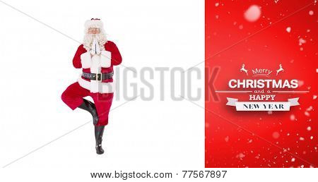 Santa claus in tree pose against red vignette