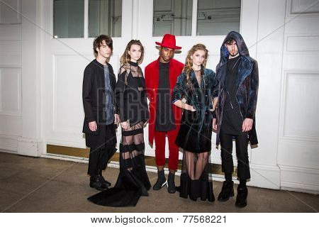 MOSCOW - OCTOBER 25: Models display creations by Russian designer Porosmani Jenya Malygina during Mercedes-Benz Fashion Week Russia on October 25, 2014 in Moscow, Russia.