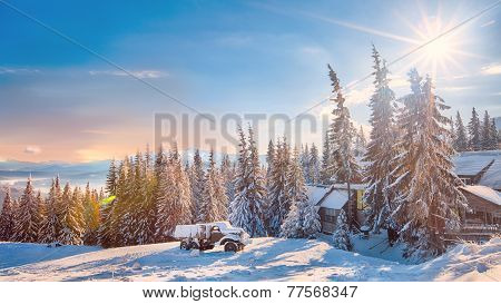 Winter Landscape Of Snowy Mountains