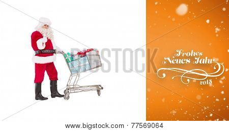 Positive santa delivering gifts with a trolley against orange vignette