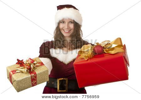woman dressed like Santa Claus holding Christmas gift boxes