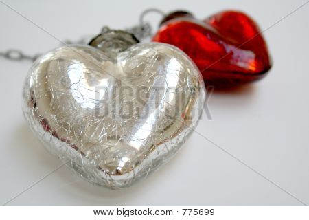 Chained silver & red hearts