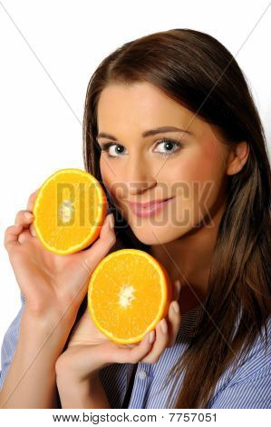 Young Beautiful Woman With Citrus Orange Fruit Having Fun. Isolated On White Background