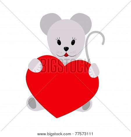 Mouse holding a heart on a white background
