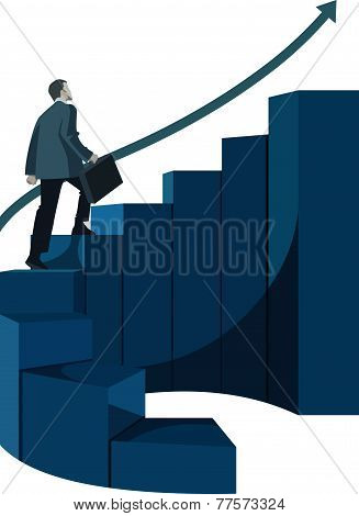 Male Businessman With Briefcase Climbing Stairs.eps