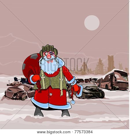 Santa Claus At The Dump Wrecked Cars Nuclear Winter Postapokalipsisa.eps