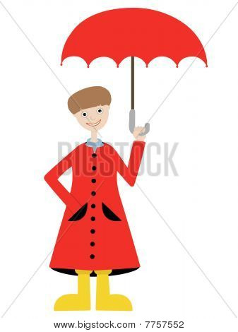 Boy holding umbrella wearing matching red raincoat