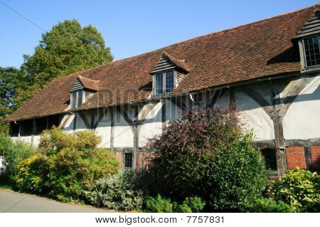 Old English medieval timber framed house