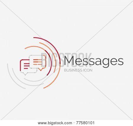 Thin line neat design logo, clean modern concept, messages idea